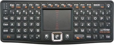 Visiontek CandyBoard Wireless 2.4GHz RF Mini Qwerty Keyboard and Center Touchpad Black - Visiontek Electronic Accessories