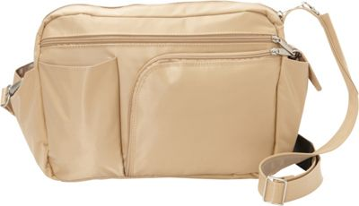BeSafe by DayMakers RFID Smart Traveler 13 LX Shoulder Bag Taupe - BeSafe by DayMakers Fabric Handbags