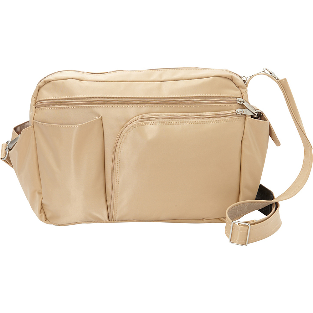 BeSafe by DayMakers RFID Smart Traveler 13 LX Shoulder Bag Taupe BeSafe by DayMakers Fabric Handbags