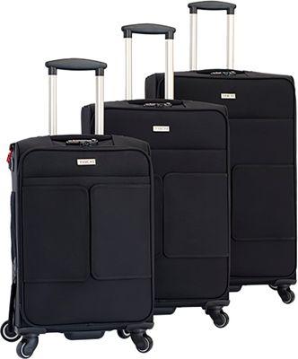 TACH Luggage 3 Piece Connecting Luggage Black - TACH Luggage Luggage Sets