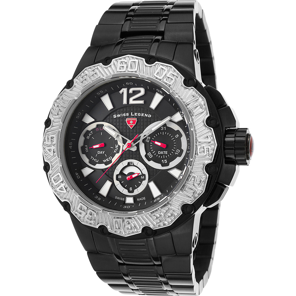 Swiss Legend Watches Ultrasonic Multi-Function Stainless Steel Watch Black - Swiss Legend Watches Watches