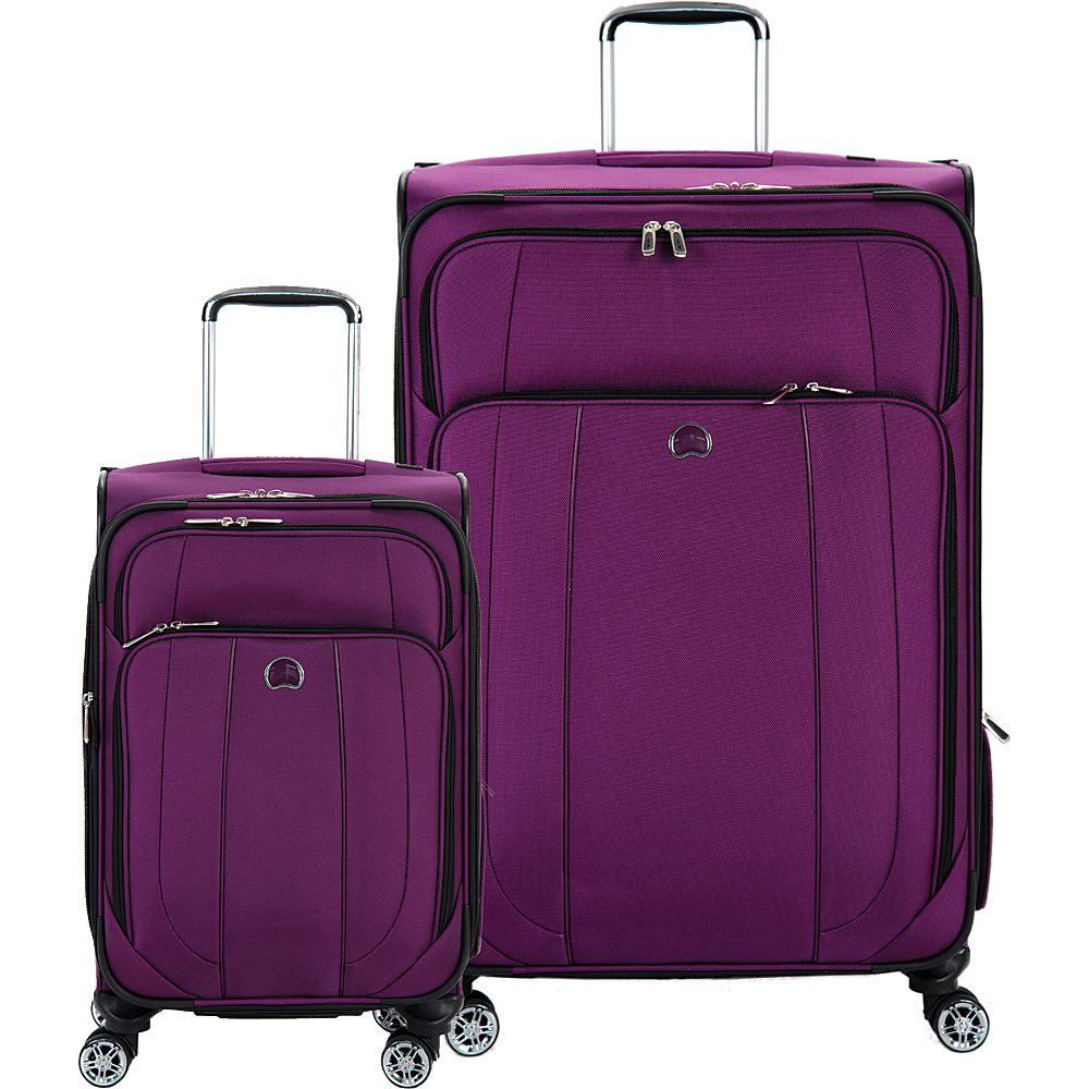 Delsey Helium Cruise 21 and 29 Spinner Luggage Set Purple Delsey Luggage Sets