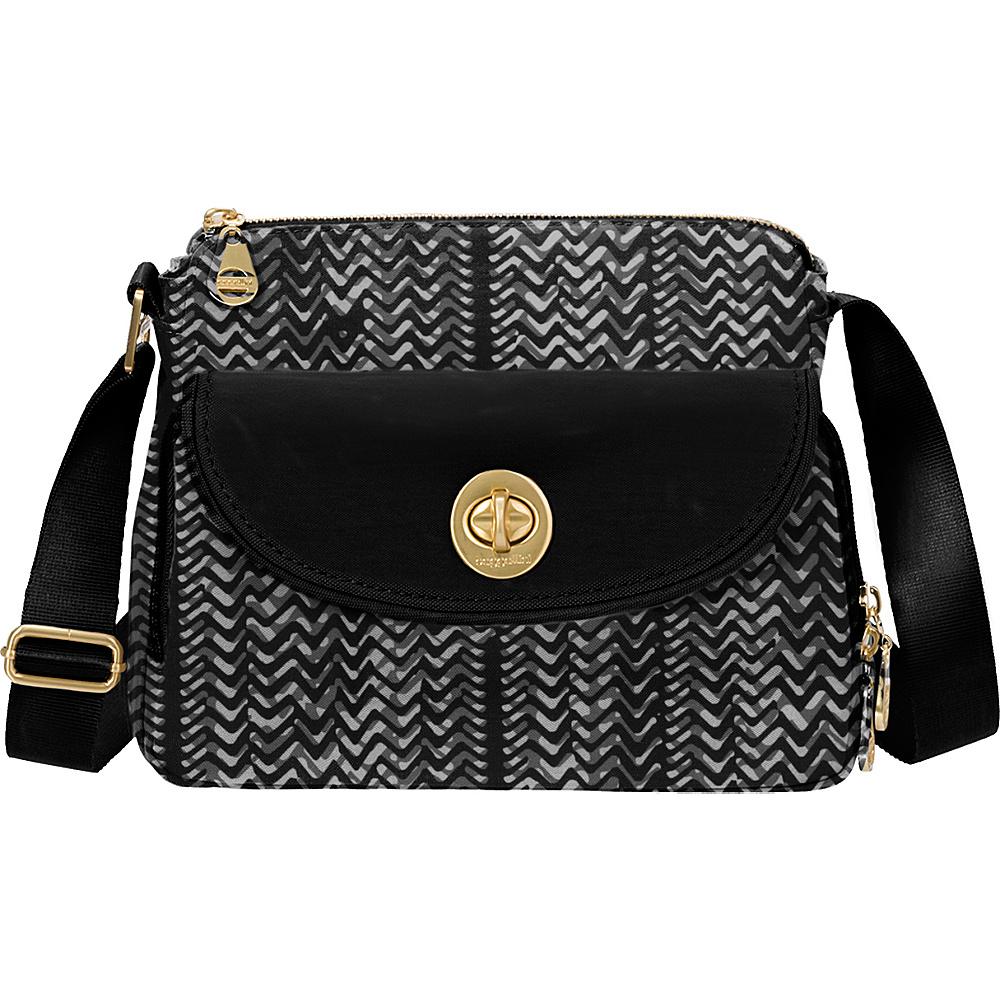 baggallini Provence Crossbody Black/White Illusion Print - baggallini Fabric Handbags - Handbags, Fabric Handbags
