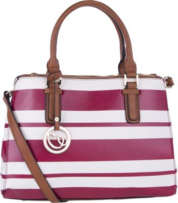 MKF Collection by Mia K. Farrow Posey Striped Satchel Red - MKF Collection by Mia K. Farrow Manmade Handbags