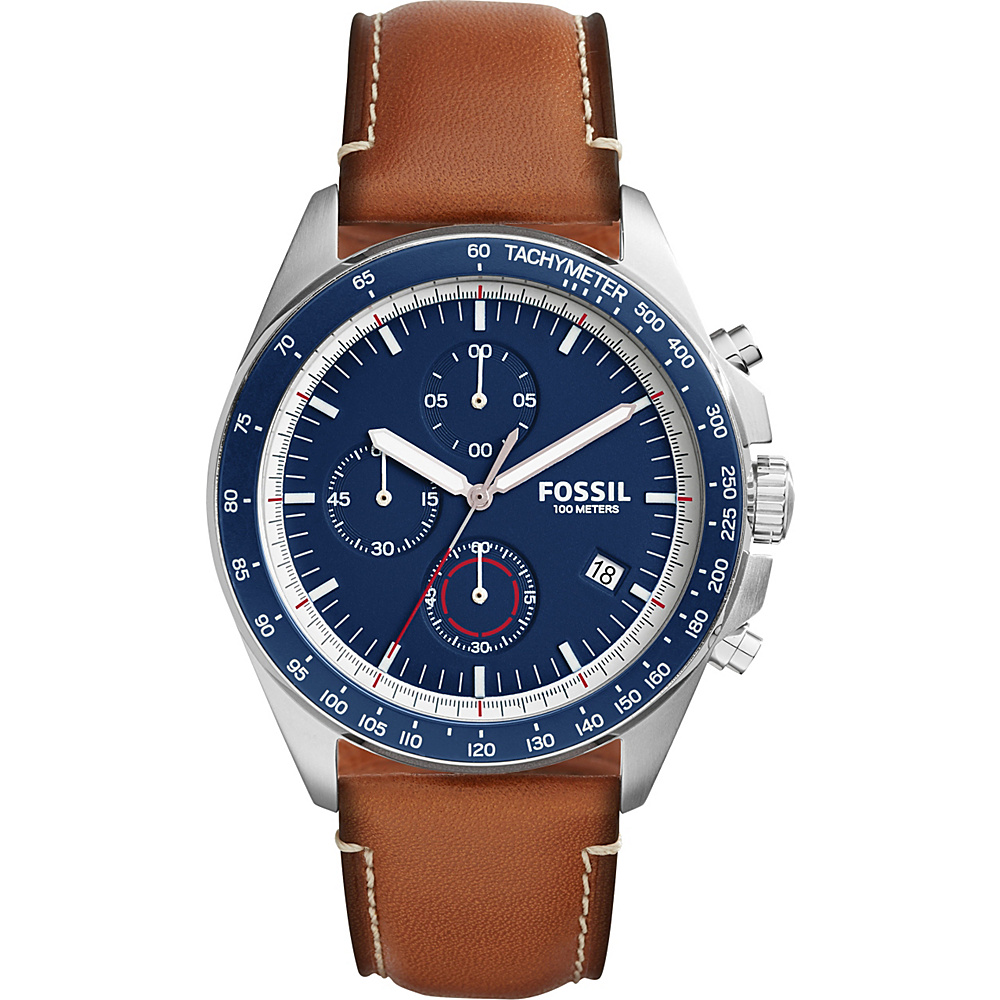 Fossil Sport 54 Chronograph Leather Watch Brown/Silver/Blue - Fossil Watches - Fashion Accessories, Watches