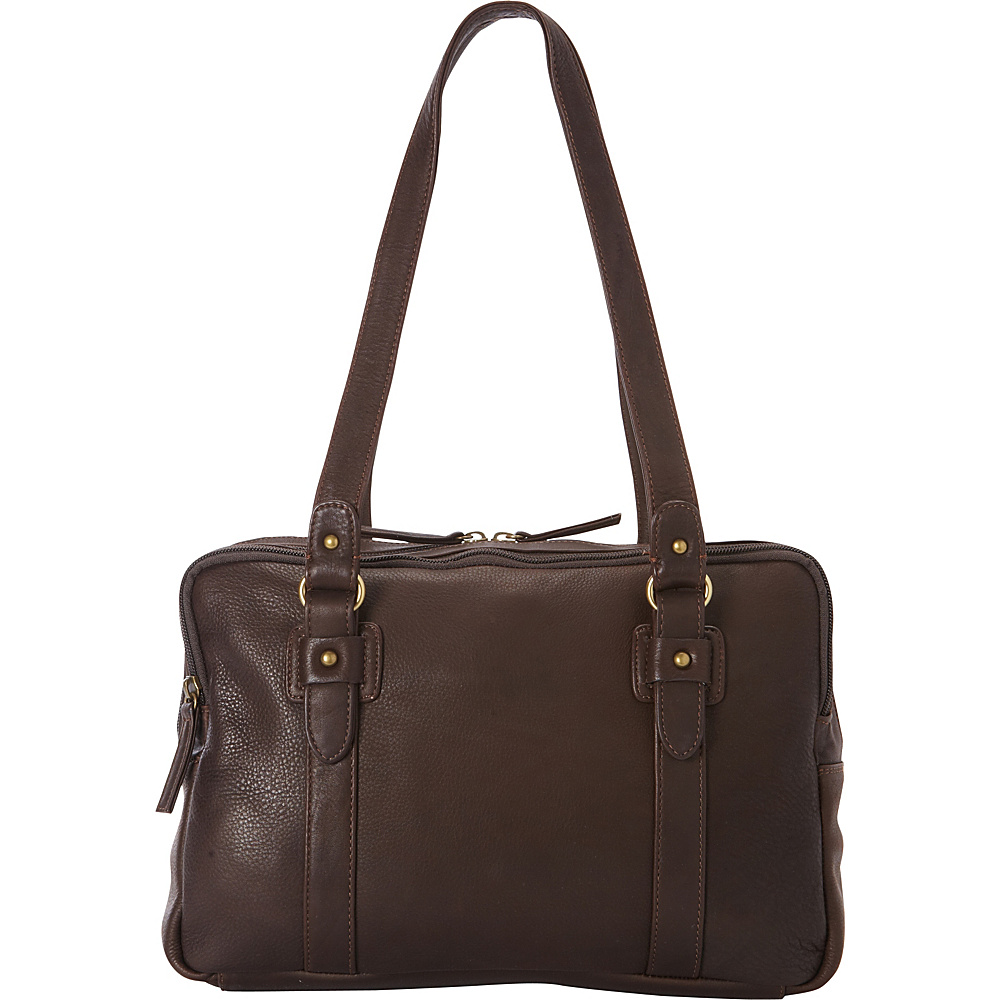 Derek Alexander EW Three Zip Book Bag Brown - Derek Alexander Leather Handbags - Handbags, Leather Handbags