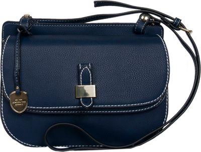 London Fog Handbags Everton Flap Crossbody Navy - London Fog Handbags Manmade Handbags