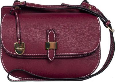 London Fog Handbags Everton Flap Crossbody Cranberry - London Fog Handbags Manmade Handbags