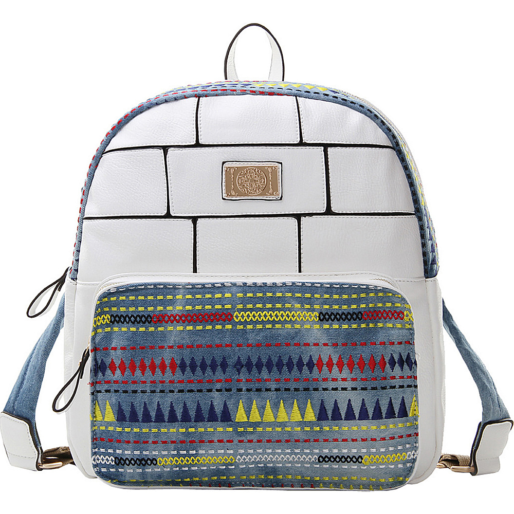 MKF Collection Greyson Back To School Textured Backpack White - MKF Collection Everyday Backpacks - Backpacks, Everyday Backpacks
