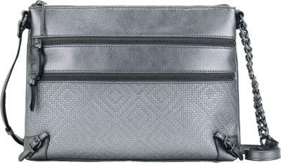 Elliott Lucca Mari 3 Zip Crossbody Graphite Metallic - Elliott Lucca Designer Handbags