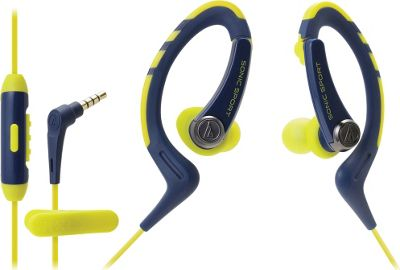 Audio Technica SonicSport In-ear Headphones with In-line Microphone and Control Blue - Audio Technica Headphones & Speakers