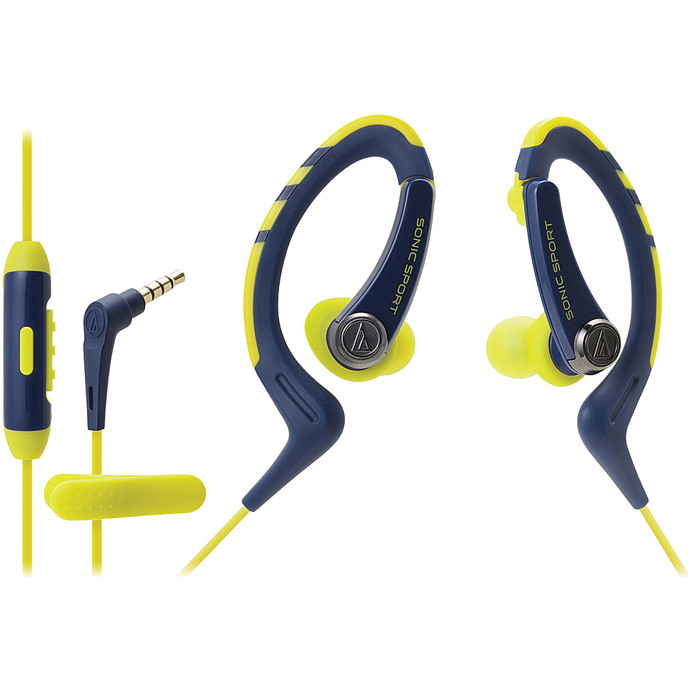 Audio Technica SonicSport In ear Headphones with In line Microphone and Control Blue Audio Technica Headphones Speakers