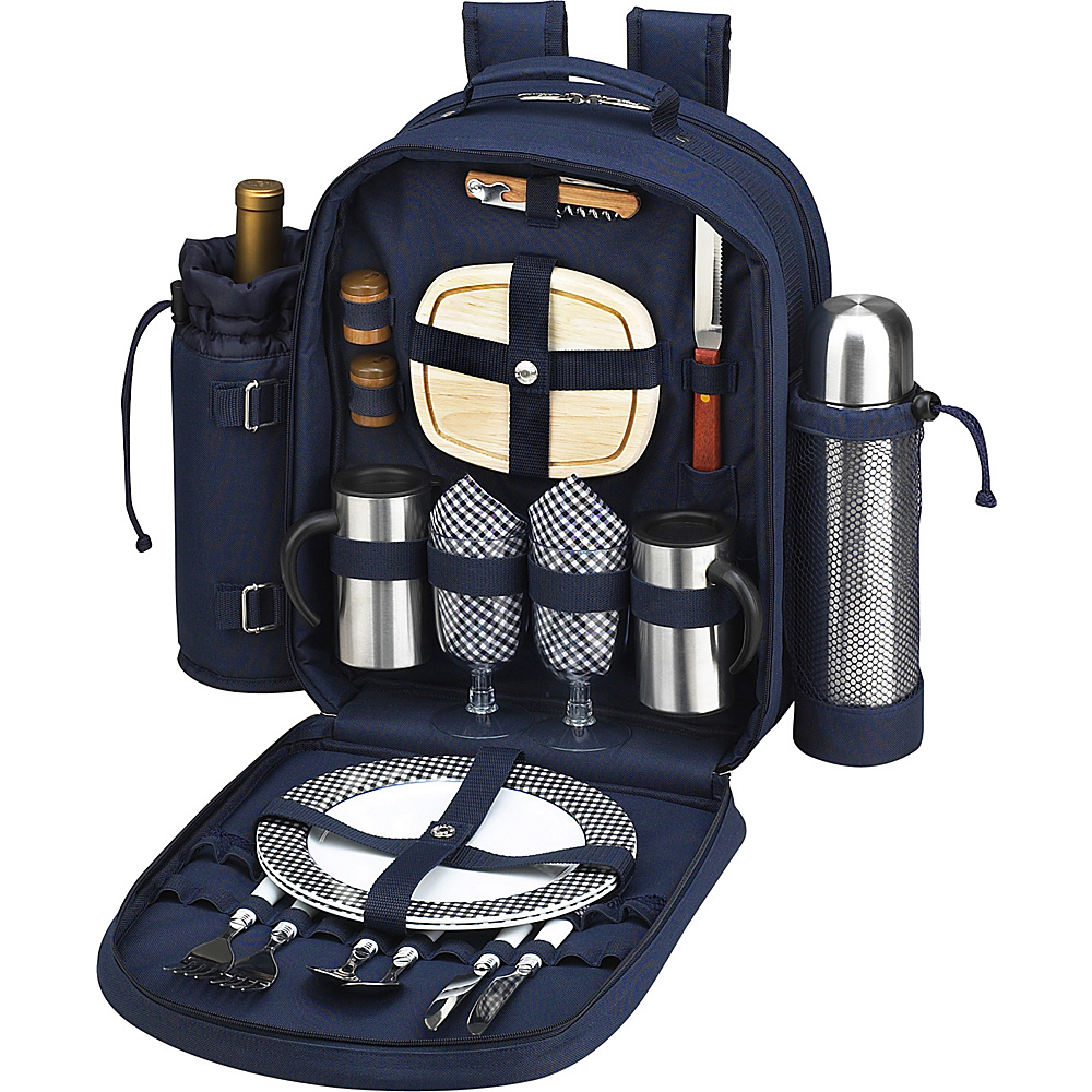 Picnic at Ascot Deluxe Equipped 2 Person Picnic Backpack with Coffee Service, Cooler & Insulated Wine Holder Navy/White with Gingham - Picnic at Ascot Outdoor Accessories - Outdoor, Outdoor Accessories
