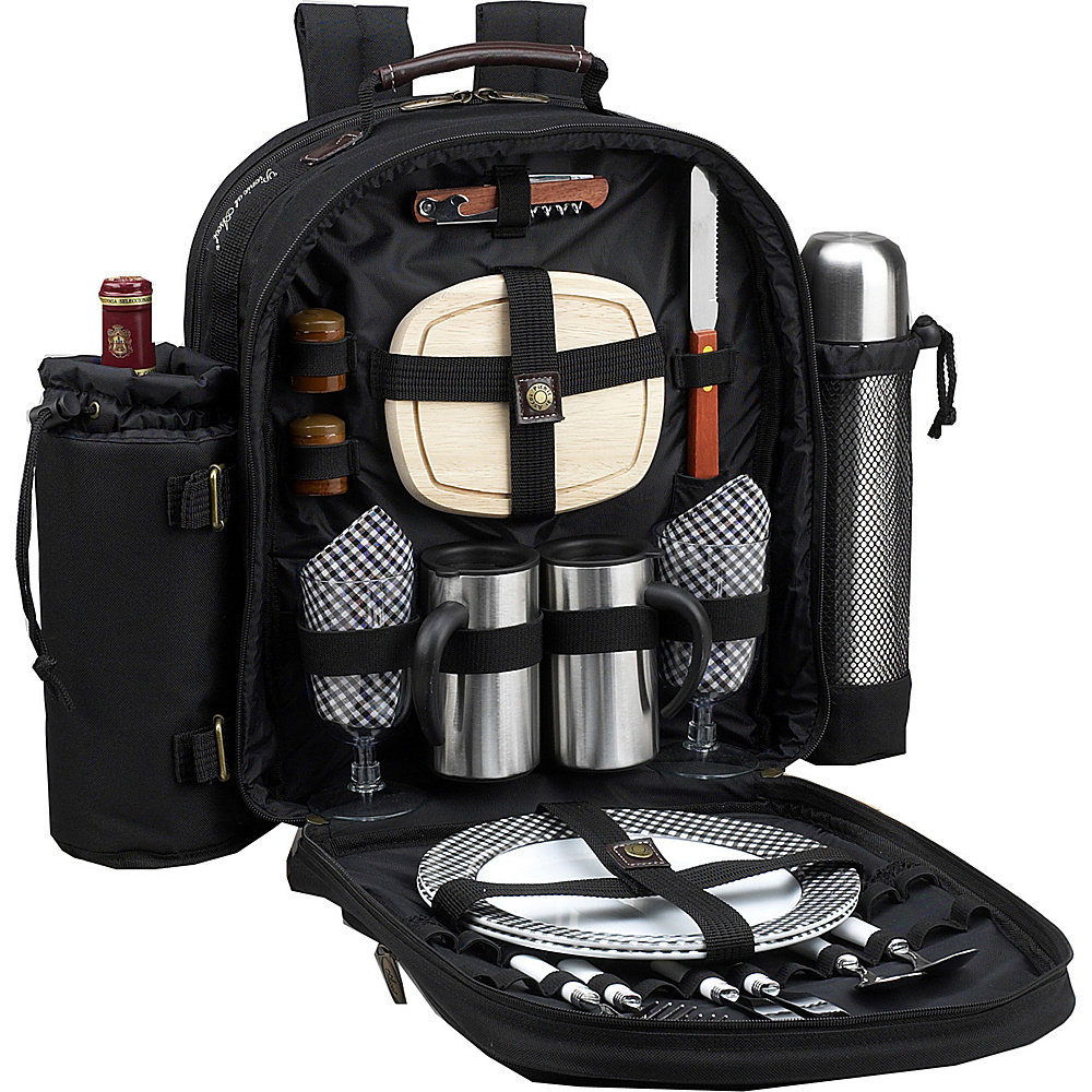 Picnic at Ascot Deluxe Equipped 2 Person Picnic Backpack with Coffee Service, Cooler & Insulated Wine Holder Black w/Gingham - Picnic at Ascot Outdoor Accessories - Outdoor, Outdoor Accessories