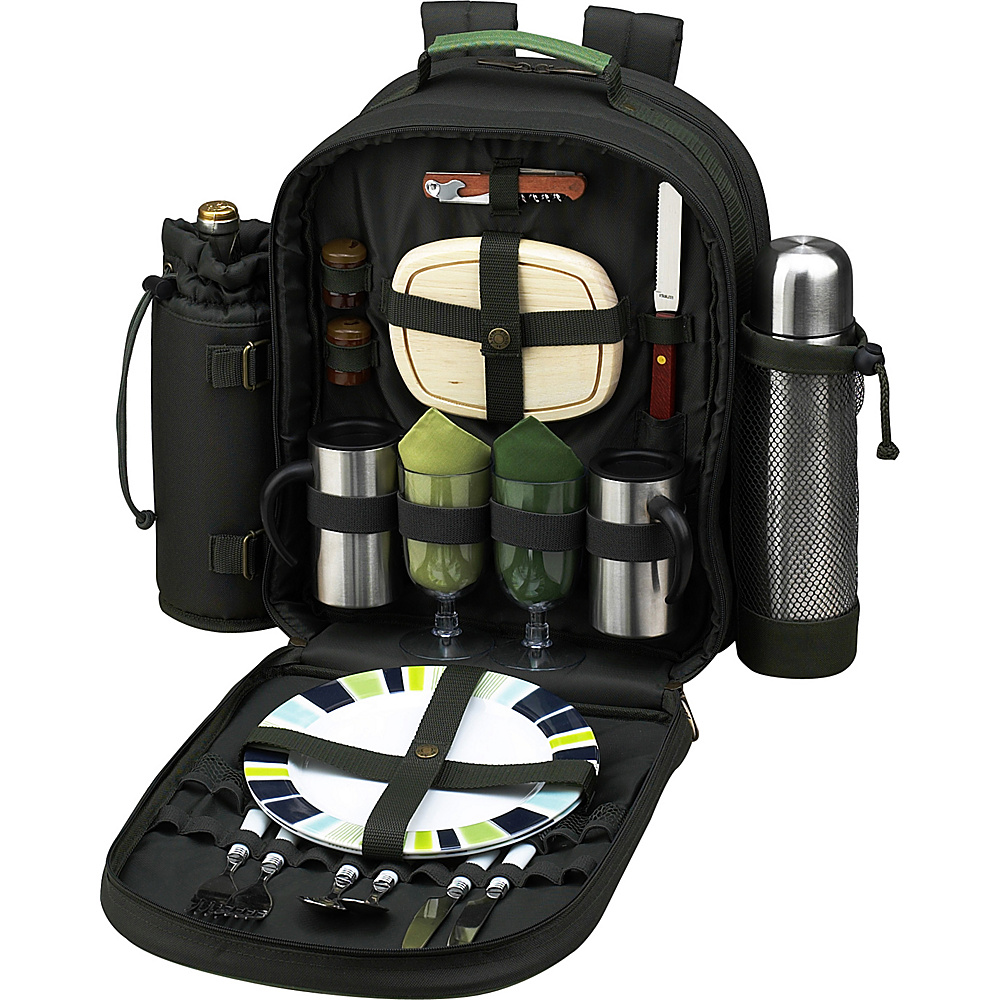 Picnic at Ascot Deluxe Equipped 2 Person Picnic Backpack with Coffee Service, Cooler & Insulated Wine Holder Forest Green - Picnic at Ascot Outdoor Accessories - Outdoor, Outdoor Accessories