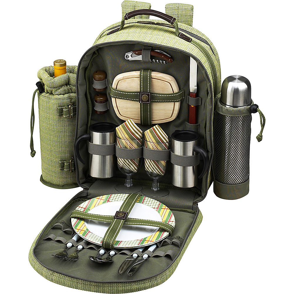 Picnic at Ascot Deluxe Equipped 2 Person Picnic Backpack with Coffee Service, Cooler & Insulated Wine Holder Olive Tweed - Picnic at Ascot Outdoor Accessories - Outdoor, Outdoor Accessories