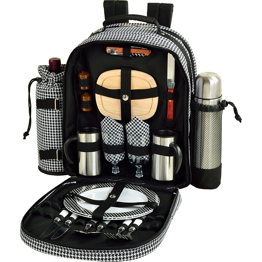 Picnic at Ascot Deluxe Equipped 2 Person Picnic Backpack with Coffee Service, Cooler & Insulated Wine Holder Houndstooth - Picnic at Ascot Outdoor Accessories - Outdoor, Outdoor Accessories