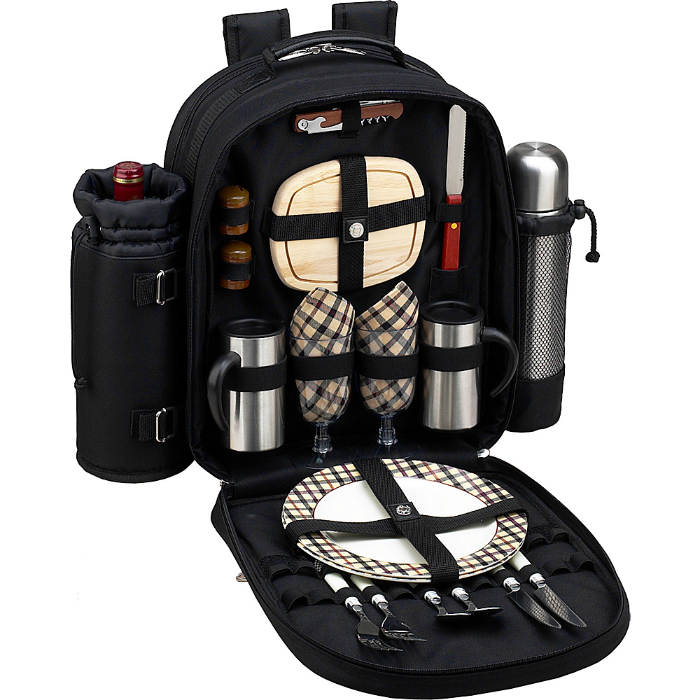 Picnic at Ascot Deluxe Equipped 2 Person Picnic Backpack with Coffee Service, Cooler & Insulated Wine Holder Black w/London Plaid - Picnic at Ascot Outdoor Accessories - Outdoor, Outdoor Accessories