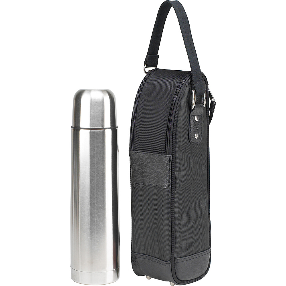 Picnic at Ascot Stylish Coffee Tote with Thermal Flask Tone on Tone Black - Picnic at Ascot Outdoor Coolers - Outdoor, Outdoor Coolers