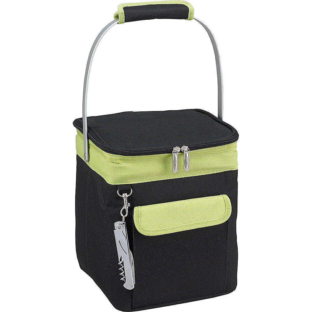 Picnic at Ascot 4 Bottle Insulated Wine Tote- Collapsible Multi Purpose Cooler Black/Apple - Picnic at Ascot Outdoor Coolers - Outdoor, Outdoor Coolers