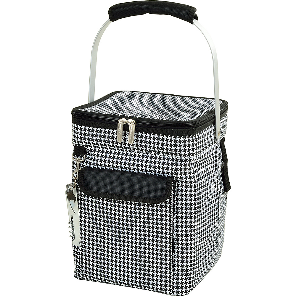 Picnic at Ascot 4 Bottle Insulated Wine Tote- Collapsible Multi Purpose Cooler Houndstooth - Picnic at Ascot Outdoor Coolers - Outdoor, Outdoor Coolers