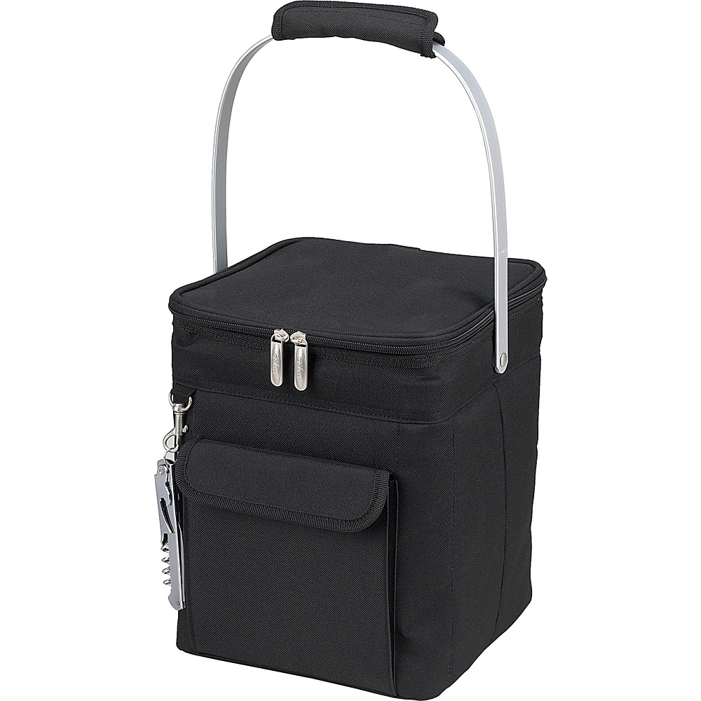 Picnic at Ascot 4 Bottle Insulated Wine Tote- Collapsible Multi Purpose Cooler Black/Grey - Picnic at Ascot Outdoor Coolers - Outdoor, Outdoor Coolers