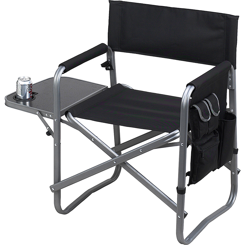 Picnic at Ascot Deluxe Wide Folding Sports Chair with Side Table Black - Picnic at Ascot Outdoor Accessories - Outdoor, Outdoor Accessories
