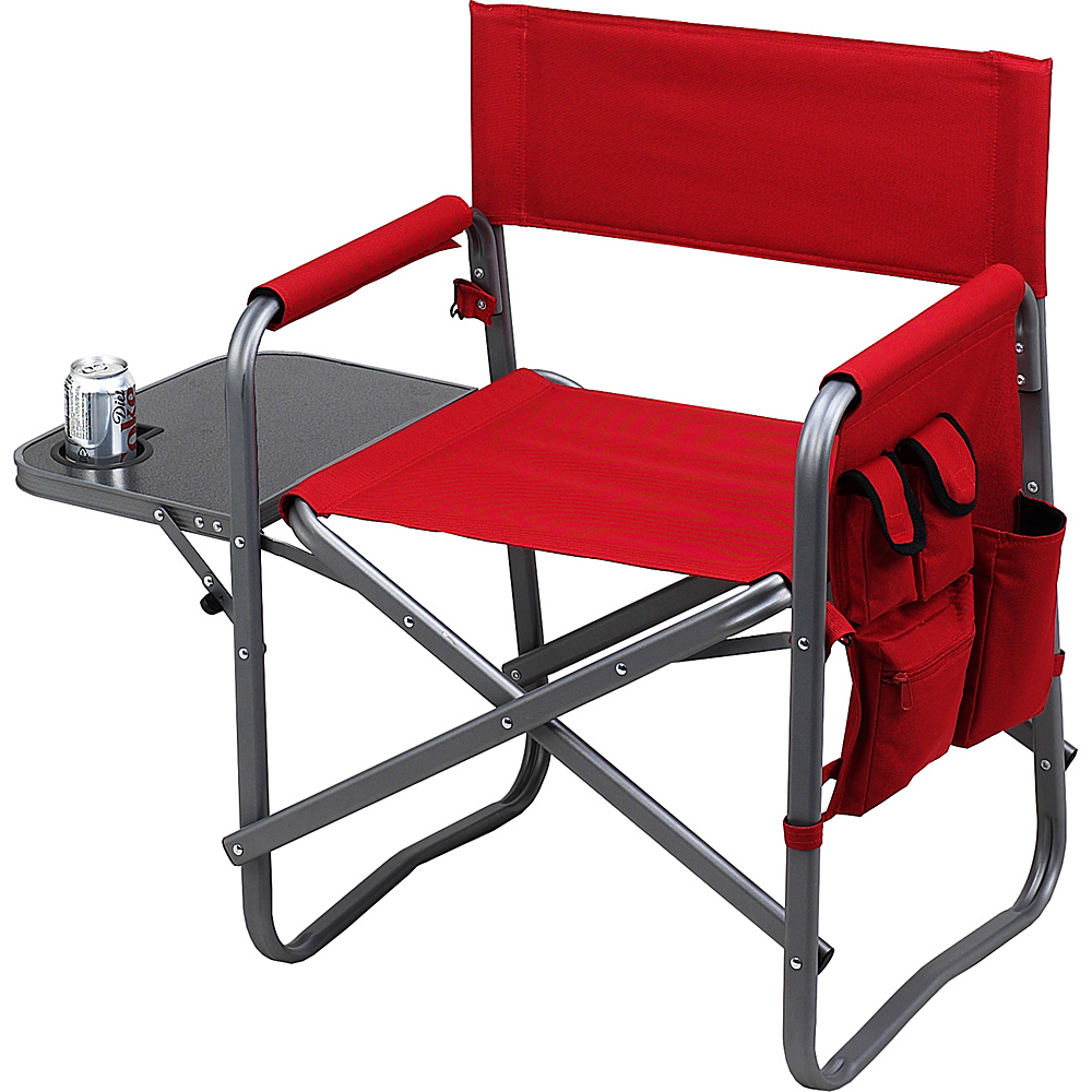 Picnic at Ascot Deluxe Wide Folding Sports Chair with Side Table Red - Picnic at Ascot Outdoor Accessories - Outdoor, Outdoor Accessories