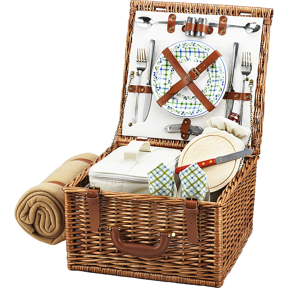 Picnic at Ascot Cheshire English-Style Willow Picnic Basket with Service for 2 and Blanket Wicker w/Gazebo - Picnic at Ascot Outdoor Accessories - Outdoor, Outdoor Accessories
