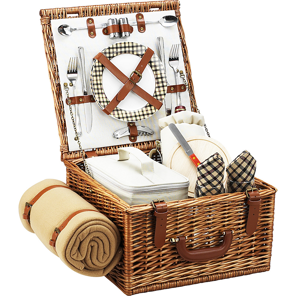 Picnic at Ascot Cheshire English-Style Willow Picnic Basket with Service for 2 and Blanket Wicker w/London - Picnic at Ascot Outdoor Accessories - Outdoor, Outdoor Accessories