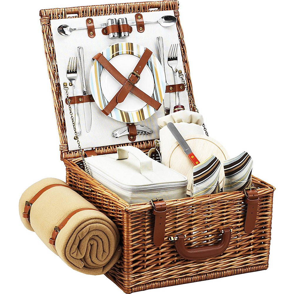 Picnic at Ascot Cheshire English-Style Willow Picnic Basket with Service for 2 and Blanket Wicker w/Santa Cruz - Picnic at Ascot Outdoor Accessories - Outdoor, Outdoor Accessories
