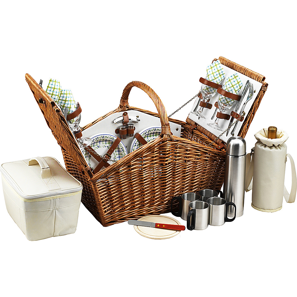 Picnic at Ascot Huntsman English-Style Willow Picnic Basket with Service for 4 and Coffee Set Wicker w/Gazebo - Picnic at Ascot Outdoor Accessories - Outdoor, Outdoor Accessories