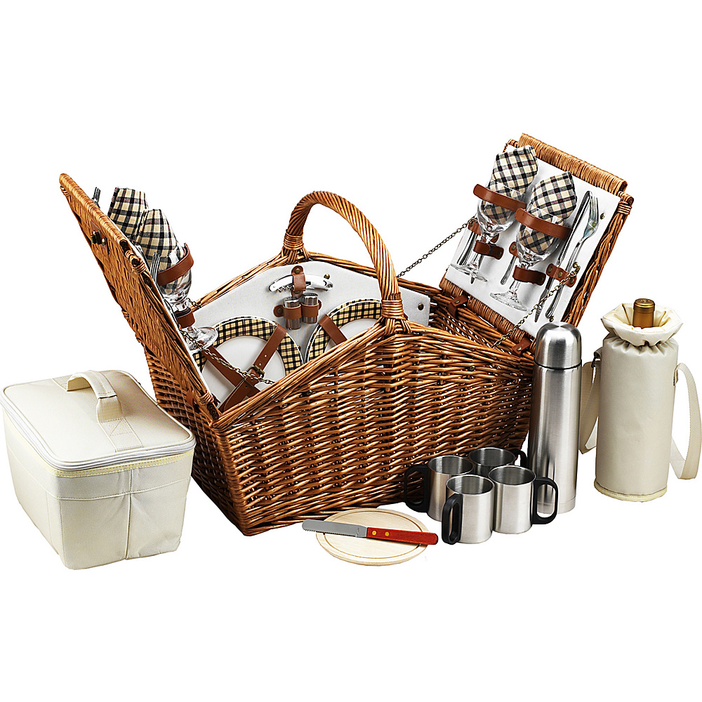 Picnic at Ascot Huntsman English-Style Willow Picnic Basket with Service for 4 and Coffee Set Wicker w/London - Picnic at Ascot Outdoor Accessories - Outdoor, Outdoor Accessories