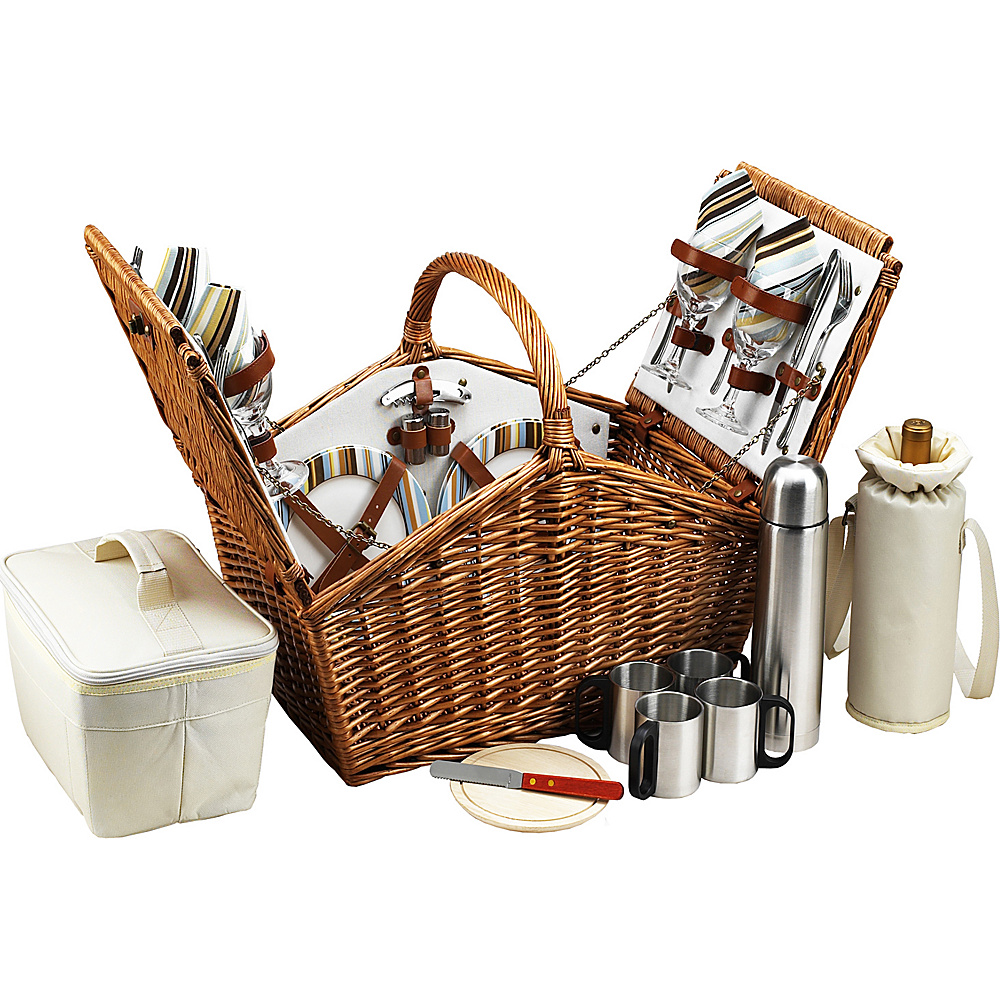 Picnic at Ascot Huntsman English-Style Willow Picnic Basket with Service for 4 and Coffee Set Wicker w/Santa Cruz - Picnic at Ascot Outdoor Accessories - Outdoor, Outdoor Accessories