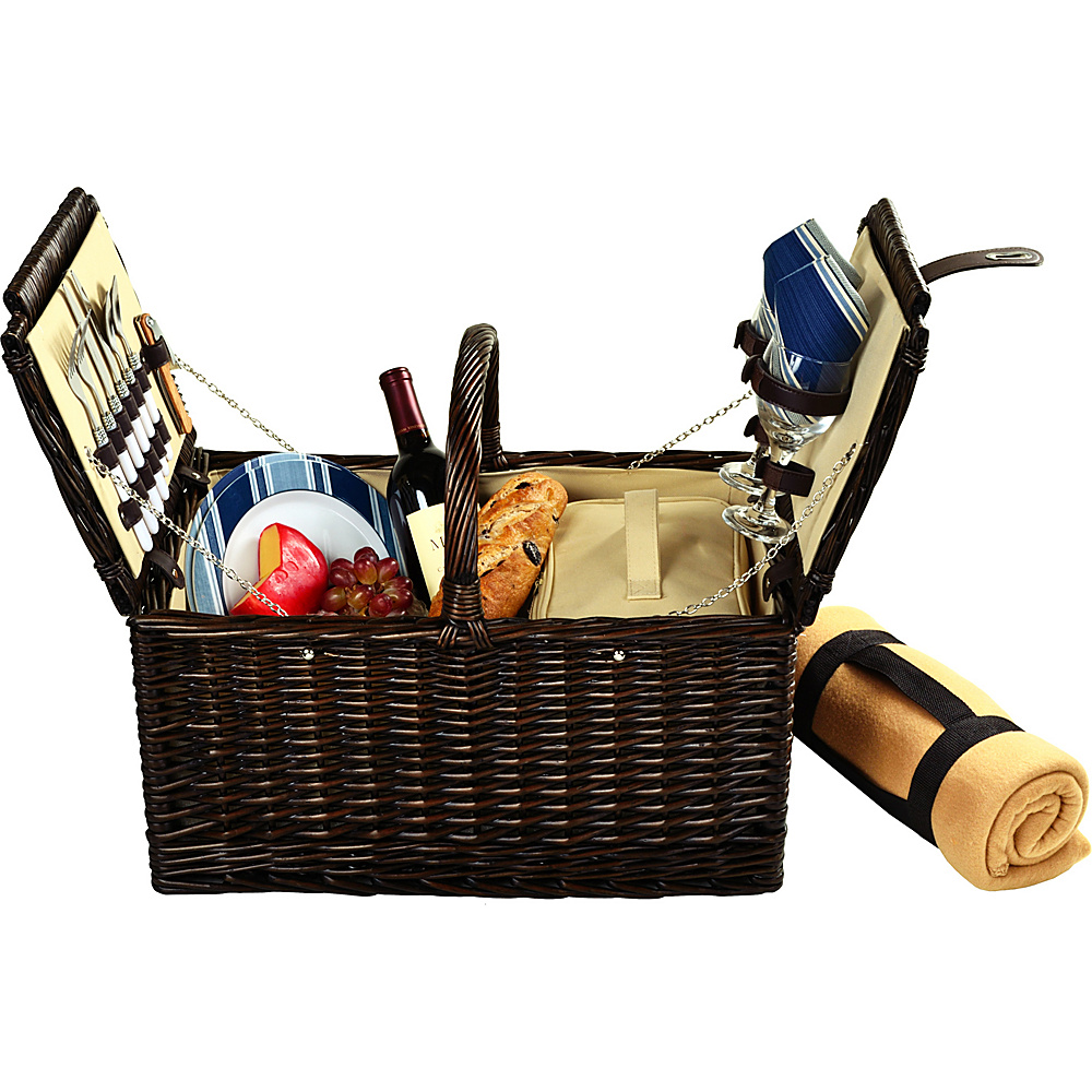 Picnic at Ascot Surrey Willow Picnic Basket with Service for 2 with Blanket Brown Wicker/Blue Stripe - Picnic at Ascot Outdoor Accessories - Outdoor, Outdoor Accessories