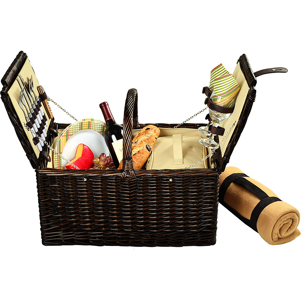 Picnic at Ascot Surrey Willow Picnic Basket with Service for 2 with Blanket Brown Wicker/Hamptons - Picnic at Ascot Outdoor Accessories - Outdoor, Outdoor Accessories