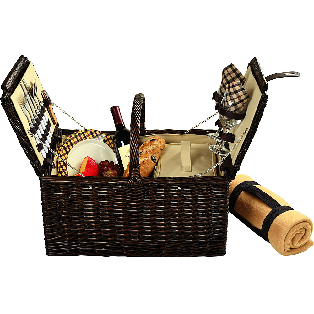 Picnic at Ascot Surrey Willow Picnic Basket with Service for 2 with Blanket Brown Wicker/London Plaid - Picnic at Ascot Outdoor Accessories - Outdoor, Outdoor Accessories