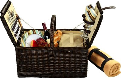 Picnic at Ascot Surrey Willow Picnic Basket with Service for 2 with Blanket Brown Wicker/Santa Cruz - Picnic at Ascot Outdoor Accessories