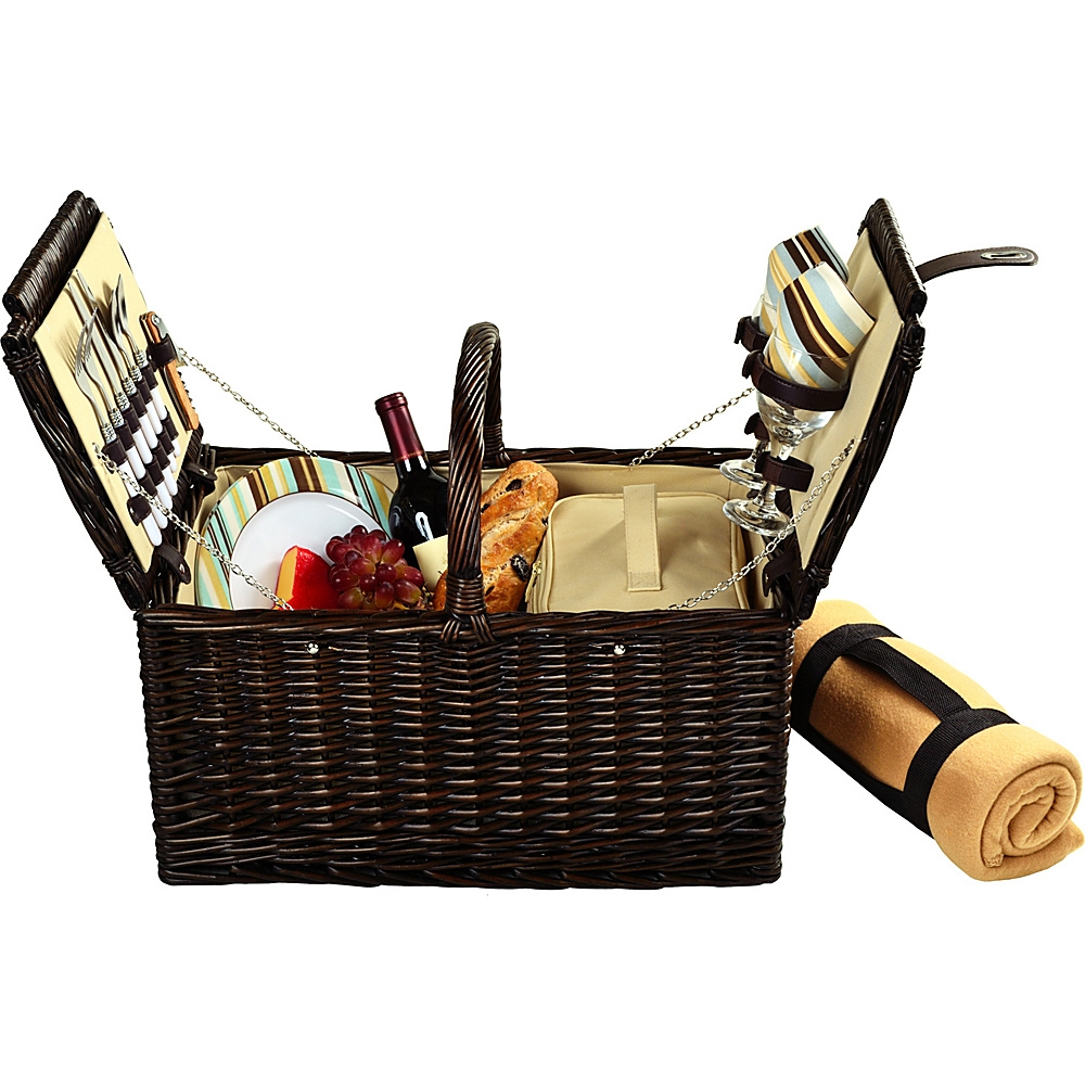 Picnic at Ascot Surrey Willow Picnic Basket with Service for 2 with Blanket Brown Wicker/Santa Cruz - Picnic at Ascot Outdoor Accessories - Outdoor, Outdoor Accessories