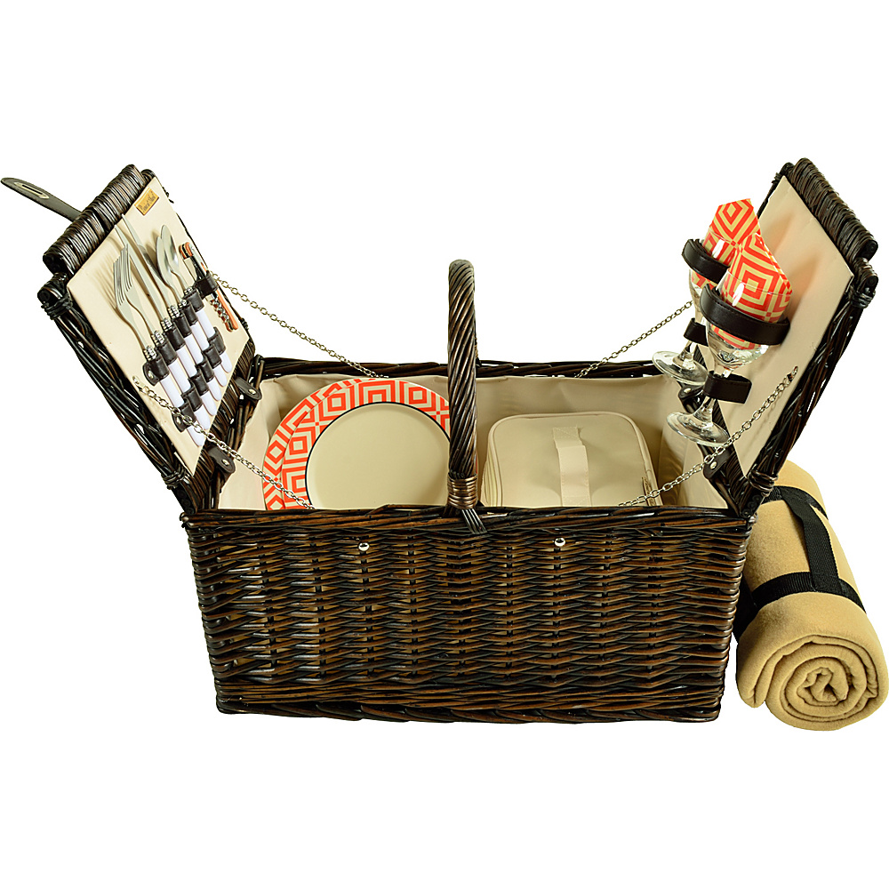 Picnic at Ascot Surrey Willow Picnic Basket with Service for 2 with Blanket Brown Wicker/Diamond Orange - Picnic at Ascot Outdoor Accessories - Outdoor, Outdoor Accessories