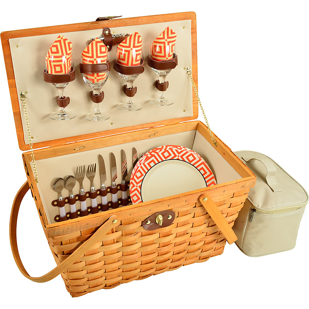 Picnic at Ascot Settler Traditional American Style Picnic Basket with Service for 4 Honey/Diamond Orange - Picnic at Ascot Outdoor Accessories - Outdoor, Outdoor Accessories