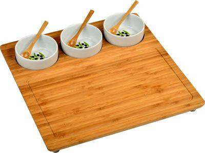 Image of Picnic at Ascot Bamboo Serving Platter with 3 Ceramic Bowls Bamboo - Picnic at Ascot Outdoor Accessories