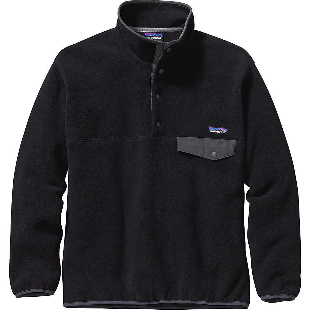 Patagonia Mens Synch Snap-T Pullover L - Black with Forge Grey - Patagonia Mens Apparel - Apparel & Footwear, Men's Apparel
