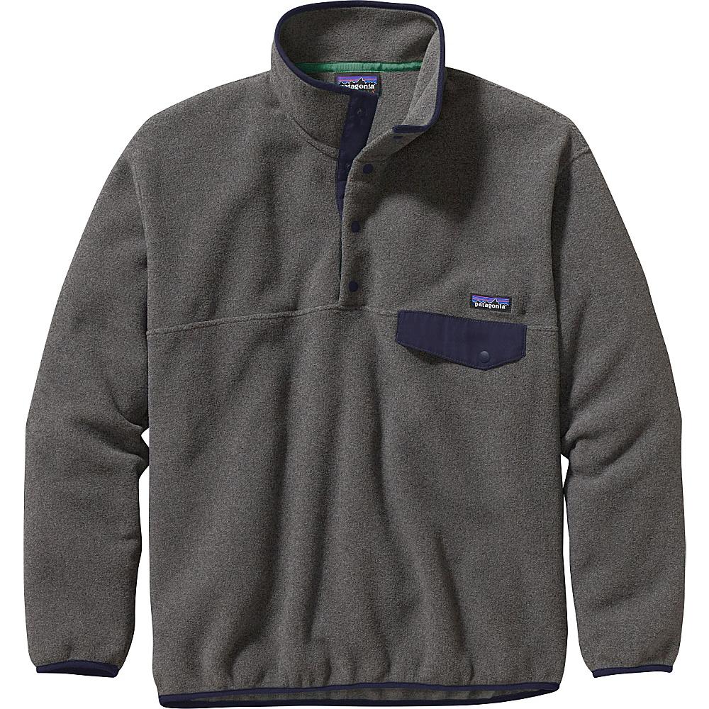 Patagonia Mens Synch Snap-T Pullover XS - Nickel with Navy Blue - Patagonia Mens Apparel - Apparel & Footwear, Men's Apparel