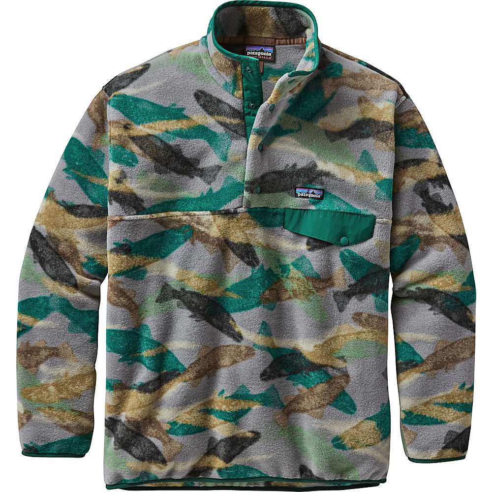 Patagonia Mens Synch Snap-T Pullover XS - Trout Tails: Legend Green - Patagonia Mens Apparel - Apparel & Footwear, Men's Apparel