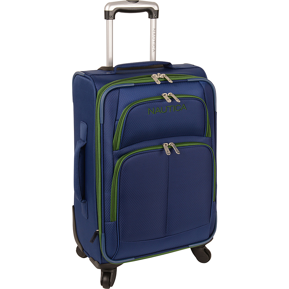 "Nautica Bay Breeze 20"" Expandable Spinner Nautica Blue/Juniper Green - Nautica Softside Carry-On"