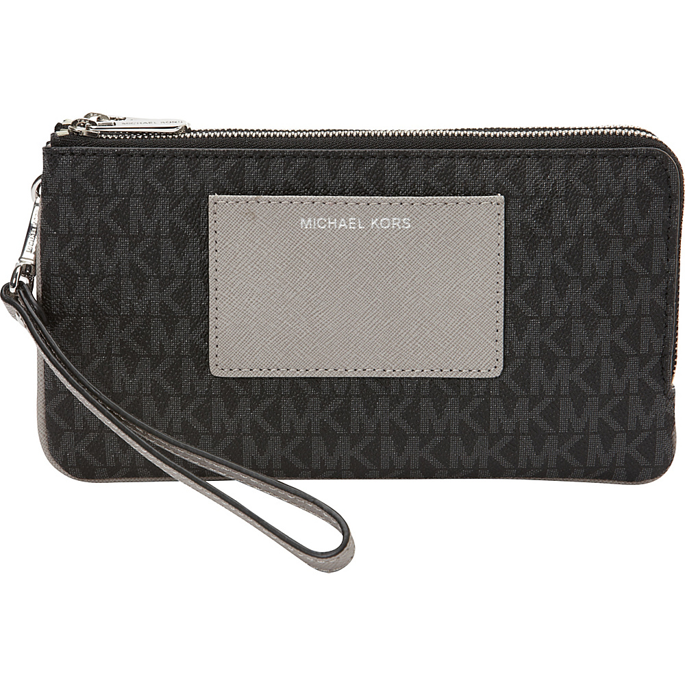 MICHAEL Michael Kors Bedford MK Signature Large Double Wristlet Black Grey MICHAEL Michael Kors Women s Wallets