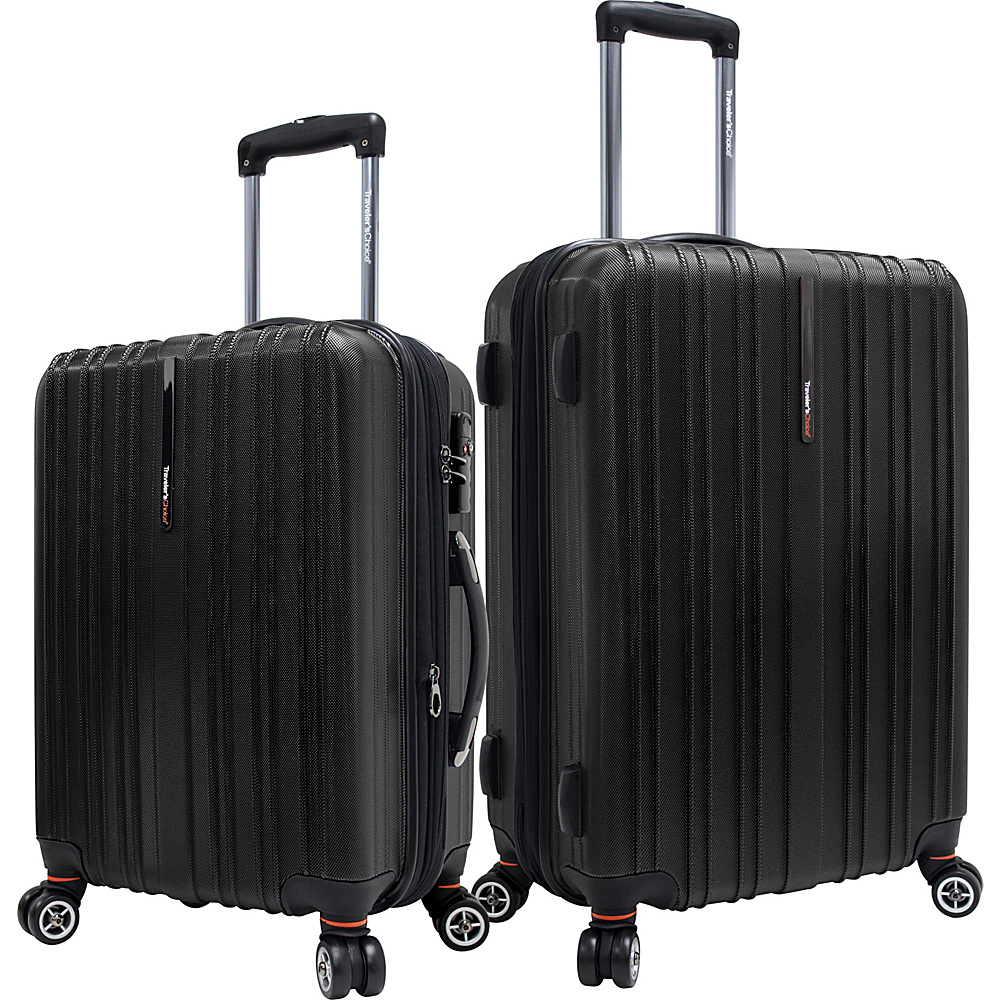 Traveler s Choice Tasmania 100% Pure Polycarbonate 2 Piece Spinner Luggage Black Traveler s Choice Luggage Sets