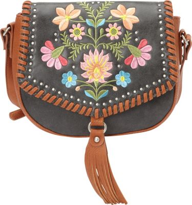 Bandana Maya Flap Crossbody Charcoal / Terracotta - Bandana Manmade Handbags