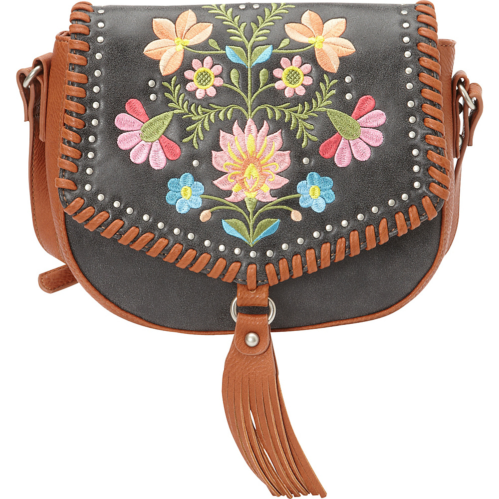Bandana Maya Flap Crossbody Charcoal Terracotta Bandana Manmade Handbags